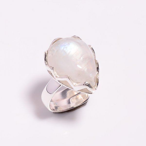 Natural Rainbow Moonstone 925 Sterling Silver Ring Size US 6 Adjustable