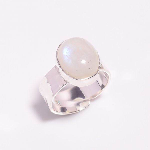 Natural Rainbow Moonstone 925 Sterling Silver Adjustable Ring