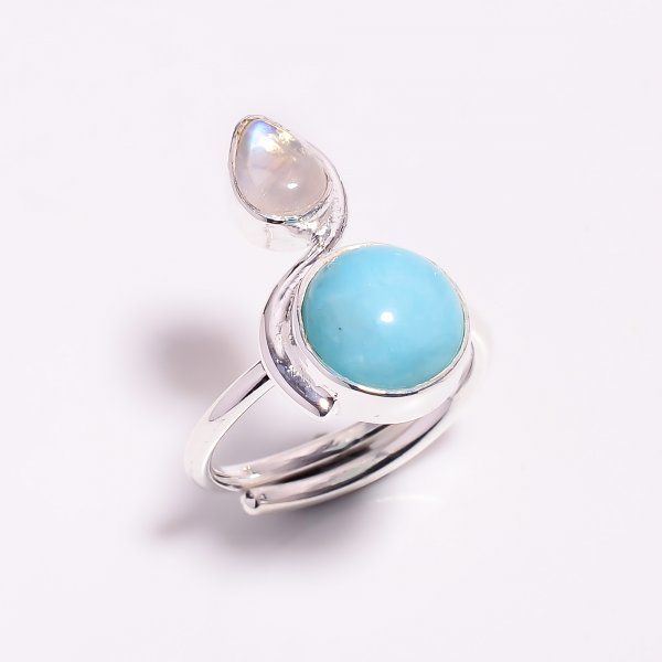 Natural Amazonite Rainbow Moonstone 925 Sterling Silver Adjustable Ring