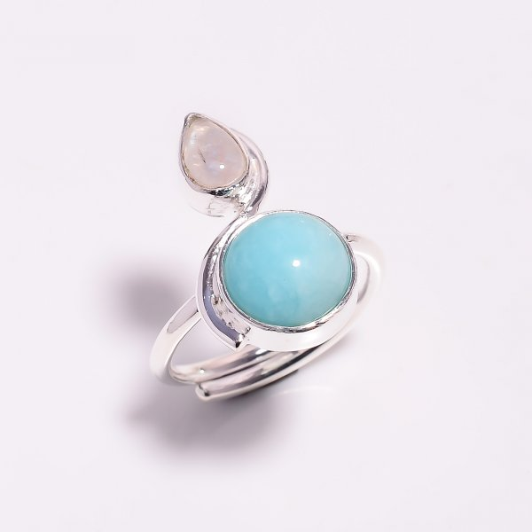 Natural Amazonite Rainbow Moonstone 925 Sterling Silver Ring Size US 7.5 Adjustable