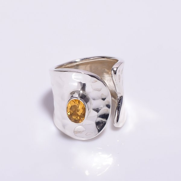 Natural Citrine Gemstone 925 Sterling Silver Hammered Adjustable Ring