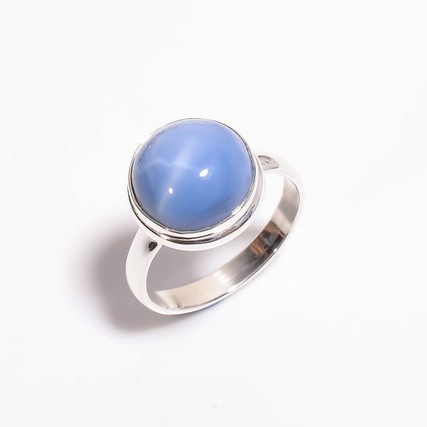 Owyhee Blue Opal Gemstone 925 Sterling Silver Ring