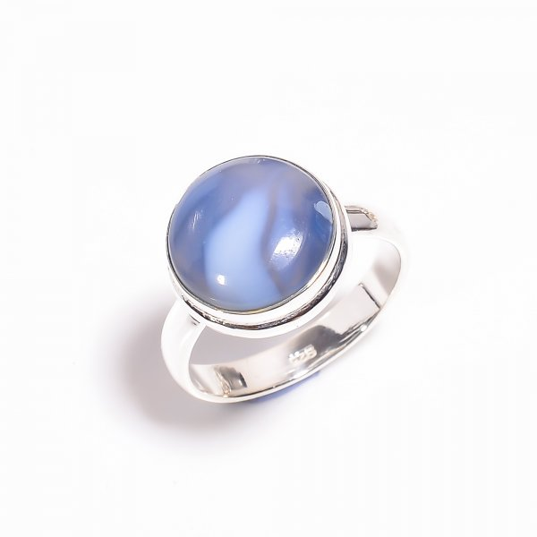 Owyhee Blue Opal Gemstone 925 Sterling Silver Ring Size US 8