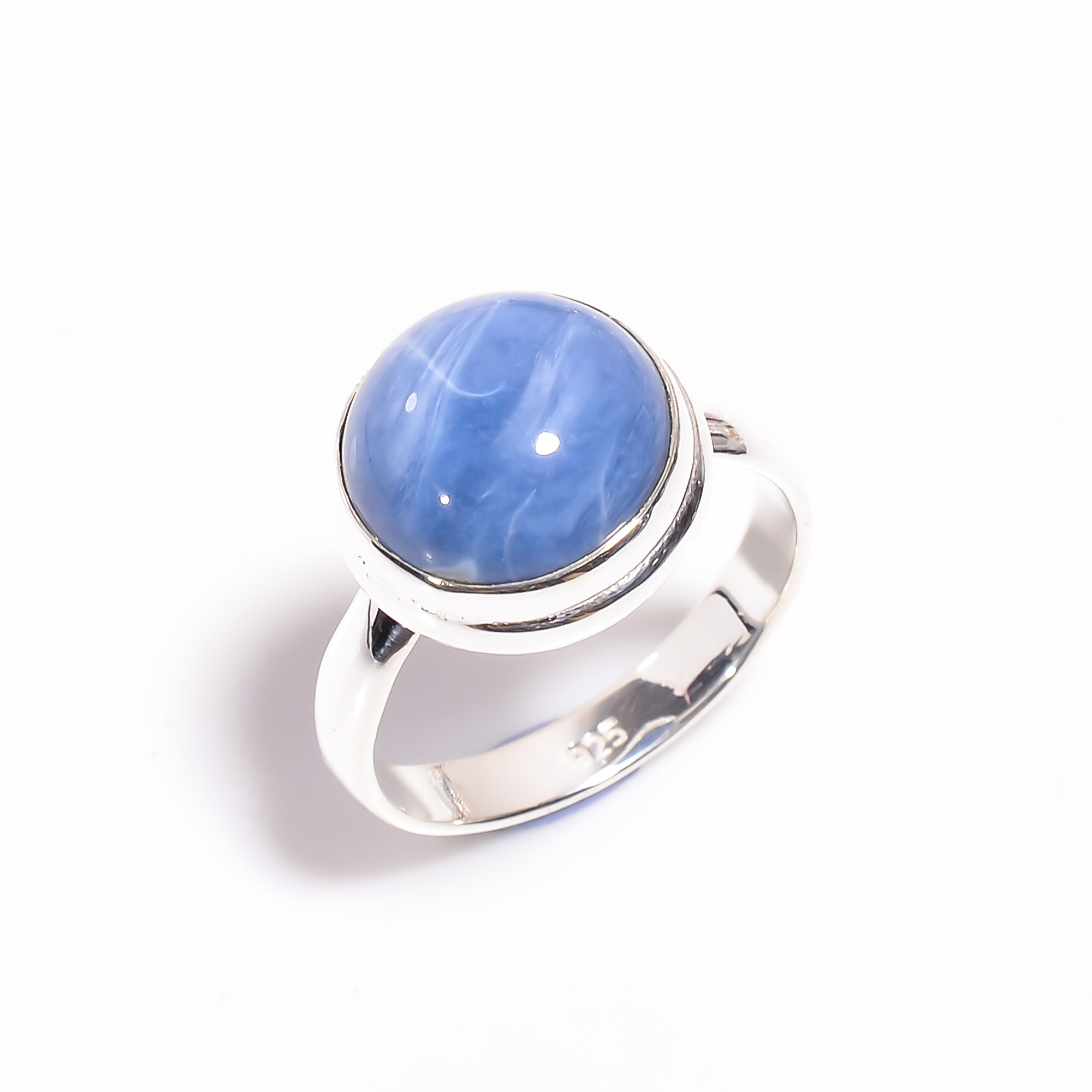 Owyhee Blue Opal Gemstone 925 Sterling Silver Ring Size US 9.25