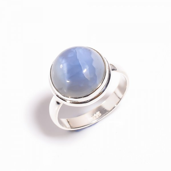 Owyhee Blue Opal Gemstone 925 Sterling Silver Ring Size US 9