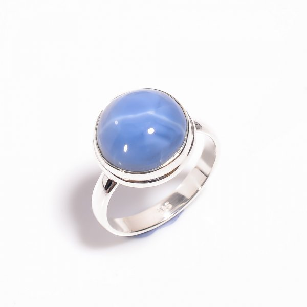 Owyhee Blue Opal Gemstone 925 Sterling Silver Ring Size US 10