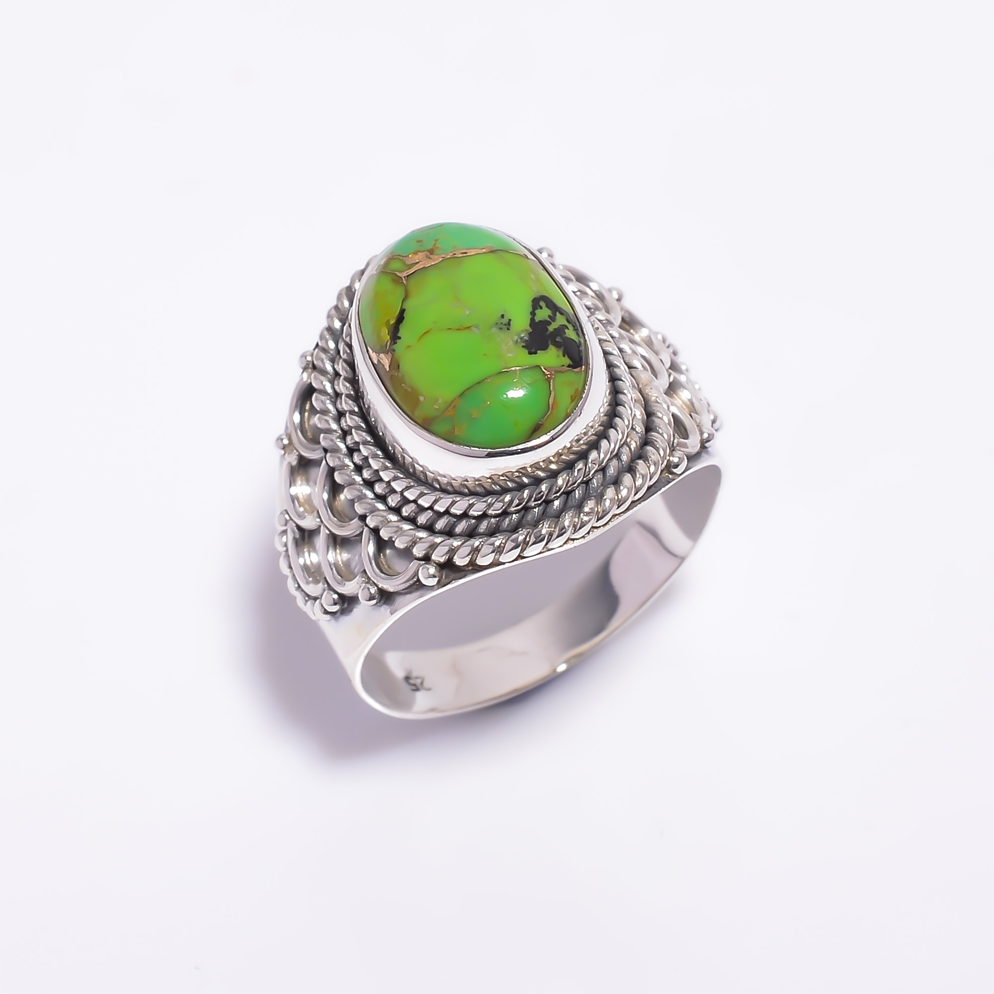 Green Copper Turquoise Gemstone 925 Sterling Silver Ring Size US 10.25