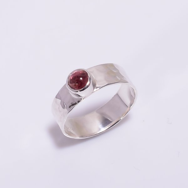 Tourmaline Gemstone 925 Sterling Silver Hammered Ring Size US 6.5