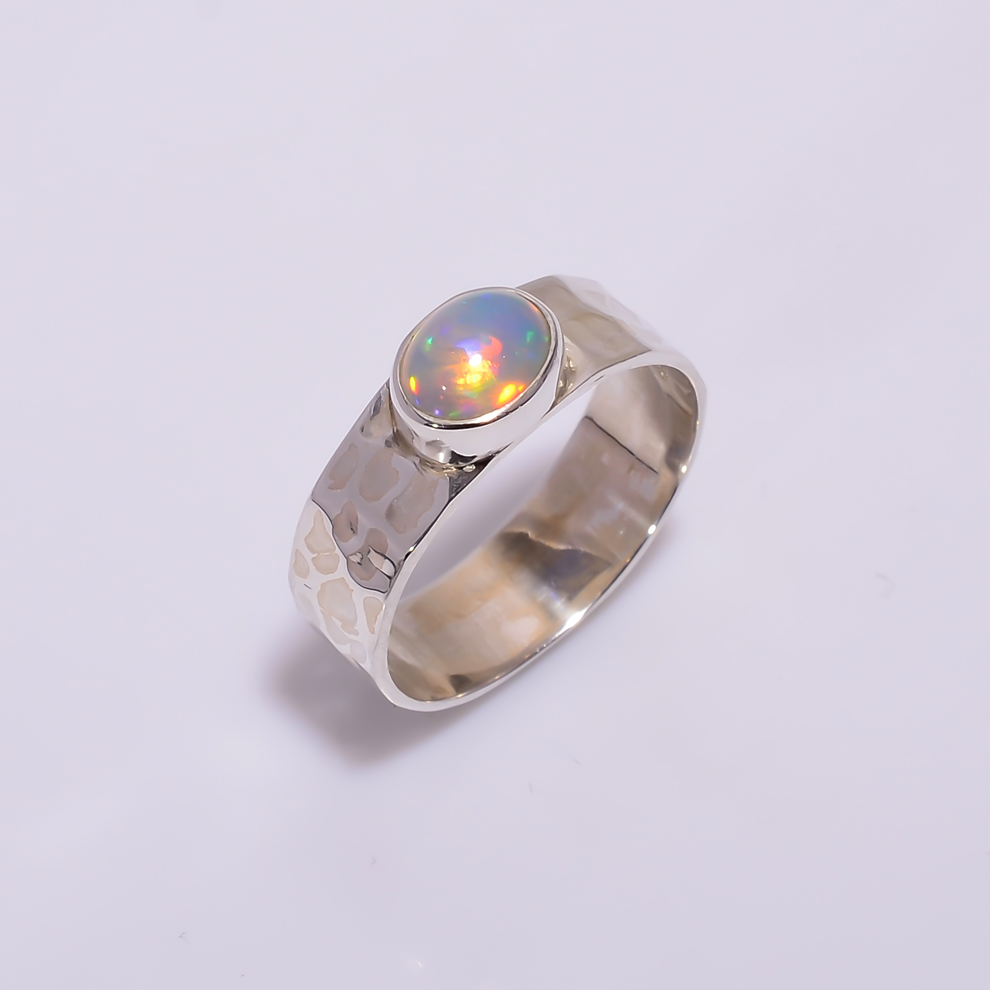 Ethiopian Opal Gemstone 925 Sterling Silver Hammered Ring Size US 7.5