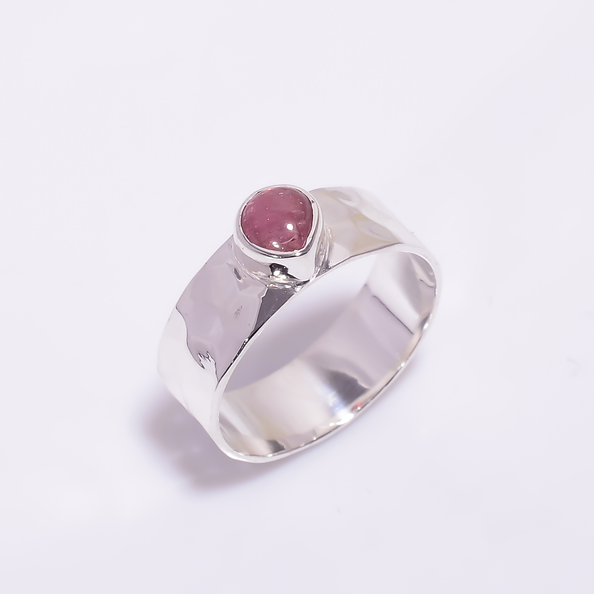 Pink Tourmaline Gemstone 925 Sterling Silver Hammered Ring Size US 6.25