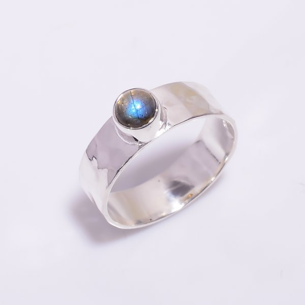 Labradorite Gemstone 925 Sterling Silver Hammered Ring Size US 7.5