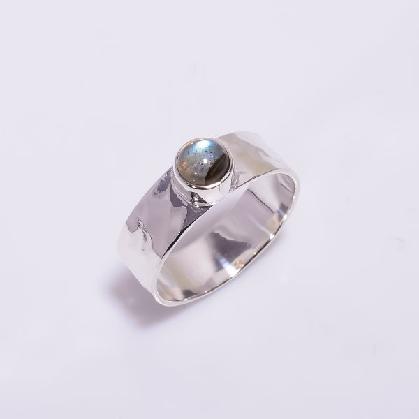 Labradorite Gemstone 925 Sterling Silver Hammered Ring Size US 6.5