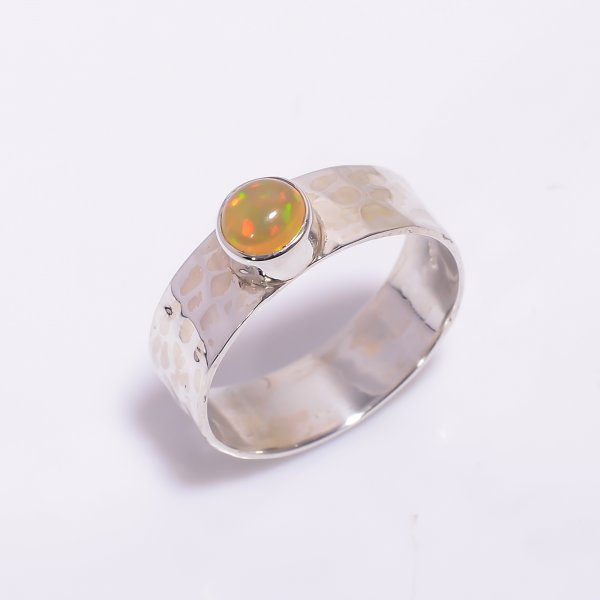 Ethiopian Opal Gemstone 925 Sterling Silver Hammered Ring Size US 8.5