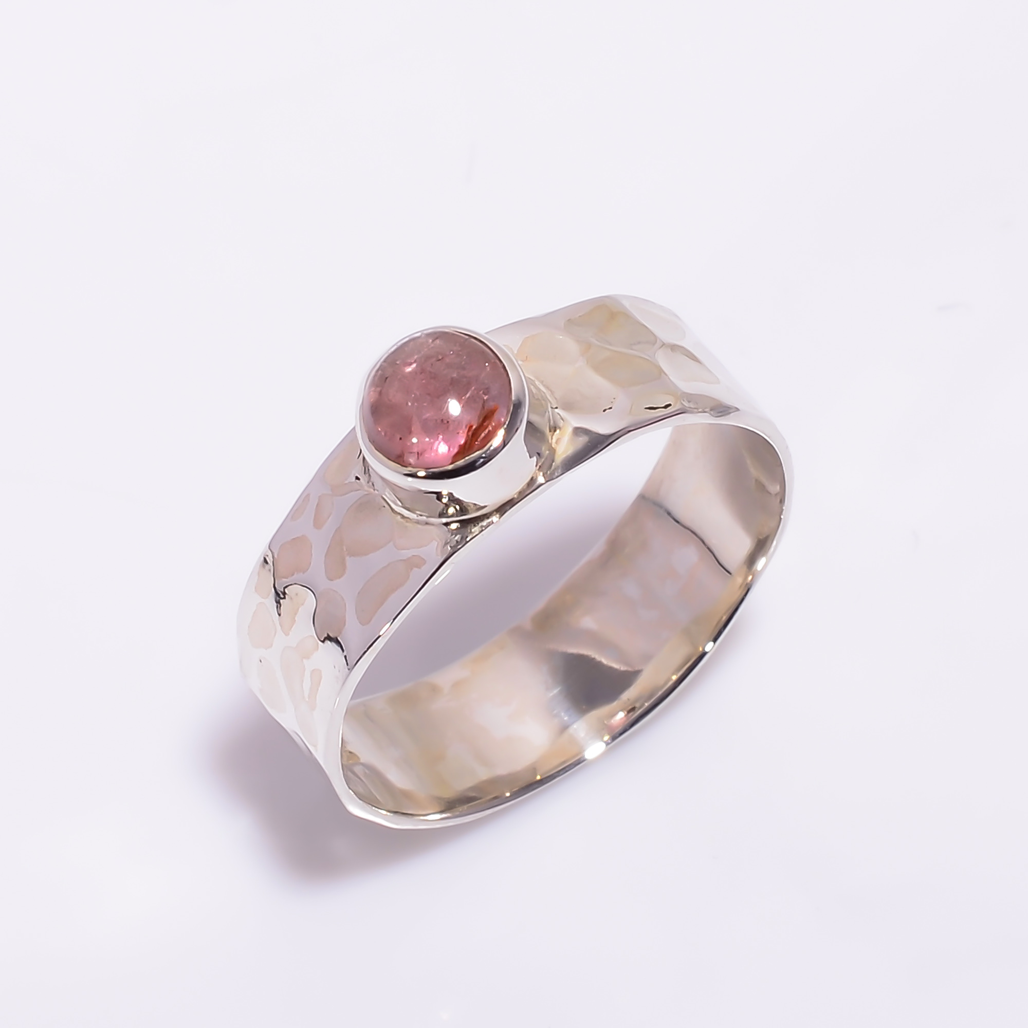 Pink Tourmaline Gemstone 925 Sterling Silver Hammered Ring Size US 7.5