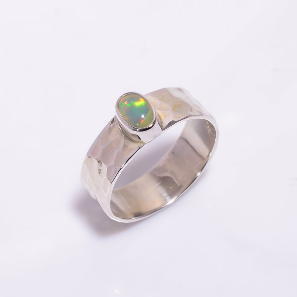 Ethiopian Opal Gemstone 925 Sterling Silver Hammered Ring Size US 6.5