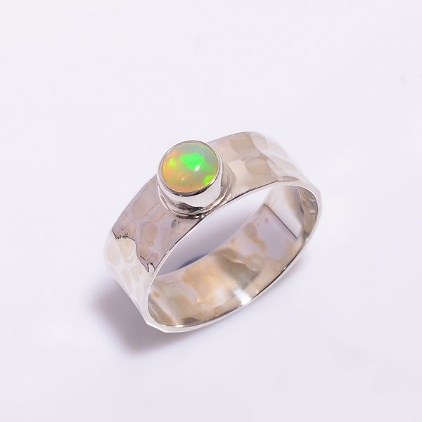 Ethiopian Opal Gemstone 925 Sterling Silver Hammered Ring Size US 5.5
