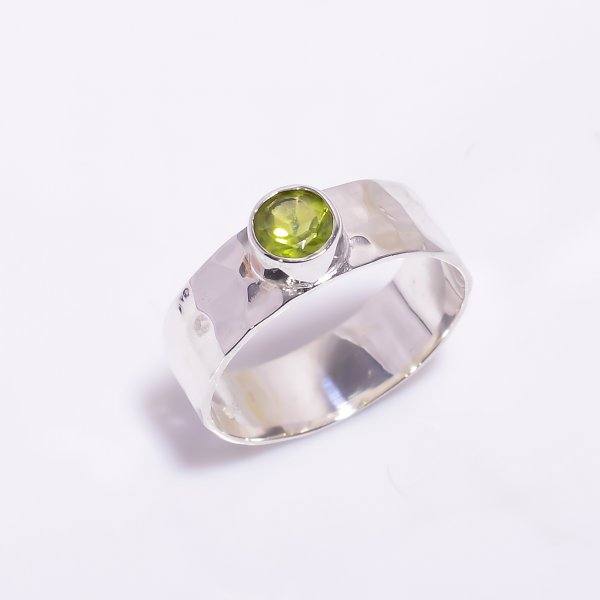 Peridot Gemstone 925 Sterling Silver Hammered Ring