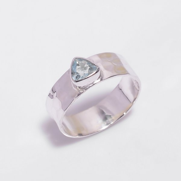 Aquamarine Gemstone 925 Sterling Silver Hammered Ring Size US 6.5