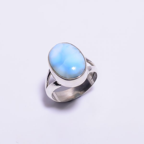 Larimar Gemstone 925 Sterling Silver Ring Size US 7.75