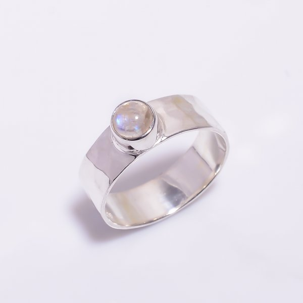 Natural Rainbow Moonstone 925 Sterling Silver Hammered Ring Size US 6.5