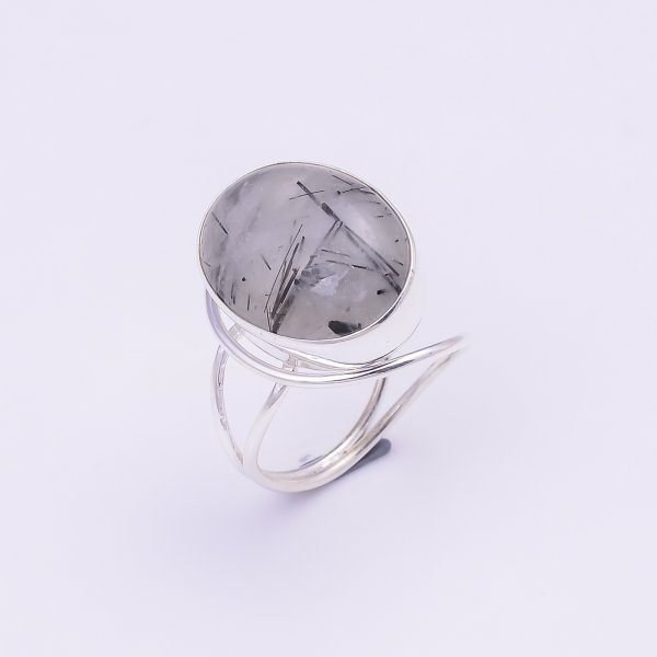 Rutile Gemstone 925 Sterling Silver Ring Size US 7.25