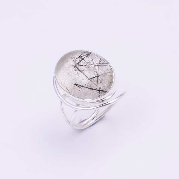Rutile Gemstone 925 Sterling Silver Ring Size US 5.75