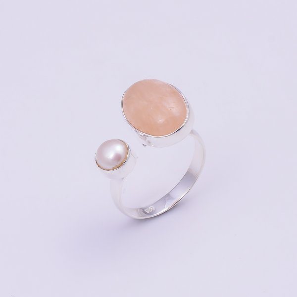 Morganite Pearl Gemstone 925 Sterling Silver Adjustable Ring