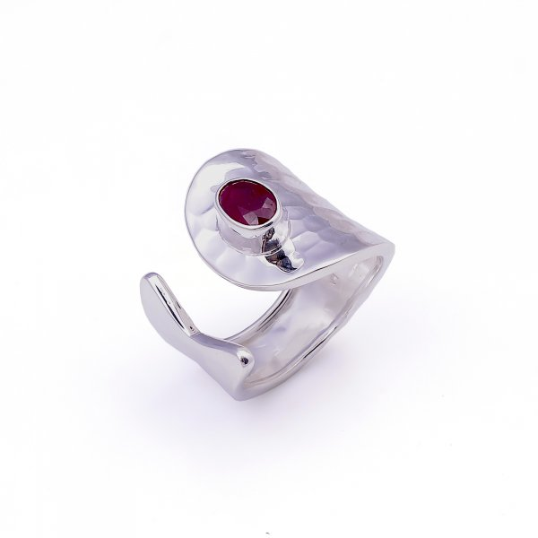 Ruby Gemstone 925 Sterling Silver Adjustable Ring