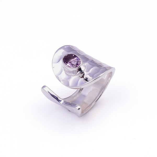 Amethyst Gemstone 925 Sterling Silver Adjustable Ring