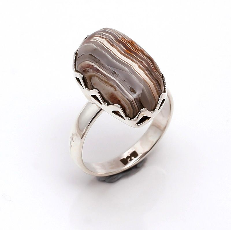 Crazy Lace Agate Gemstone 925 Sterling Silver Ring Size 8