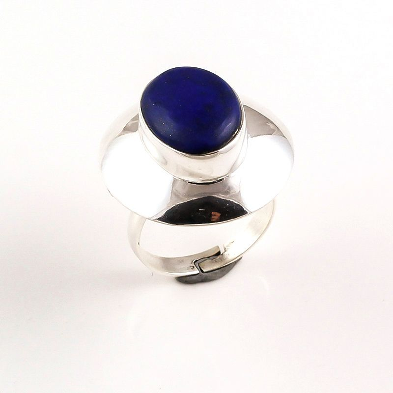 Lapis Gemstone 925 Sterling Silver Ring Size 7 Adjustable