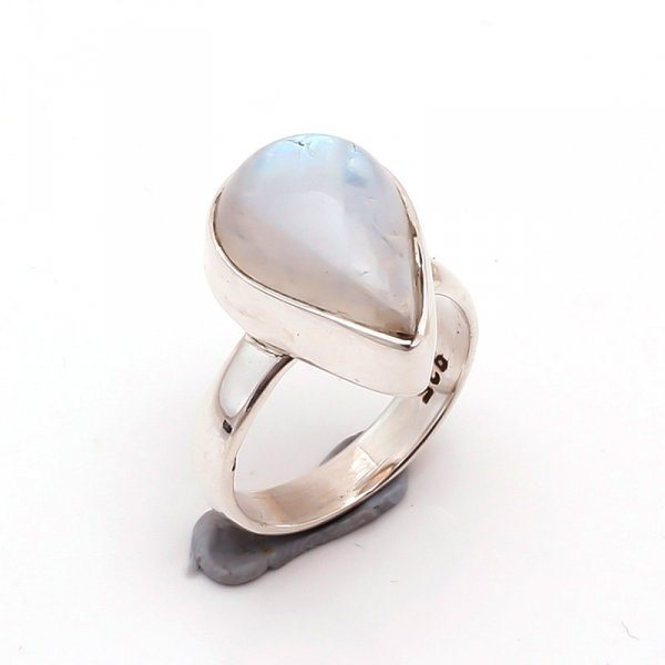 Rainbow Moonstone 925 Sterling Silver Ring Size 5