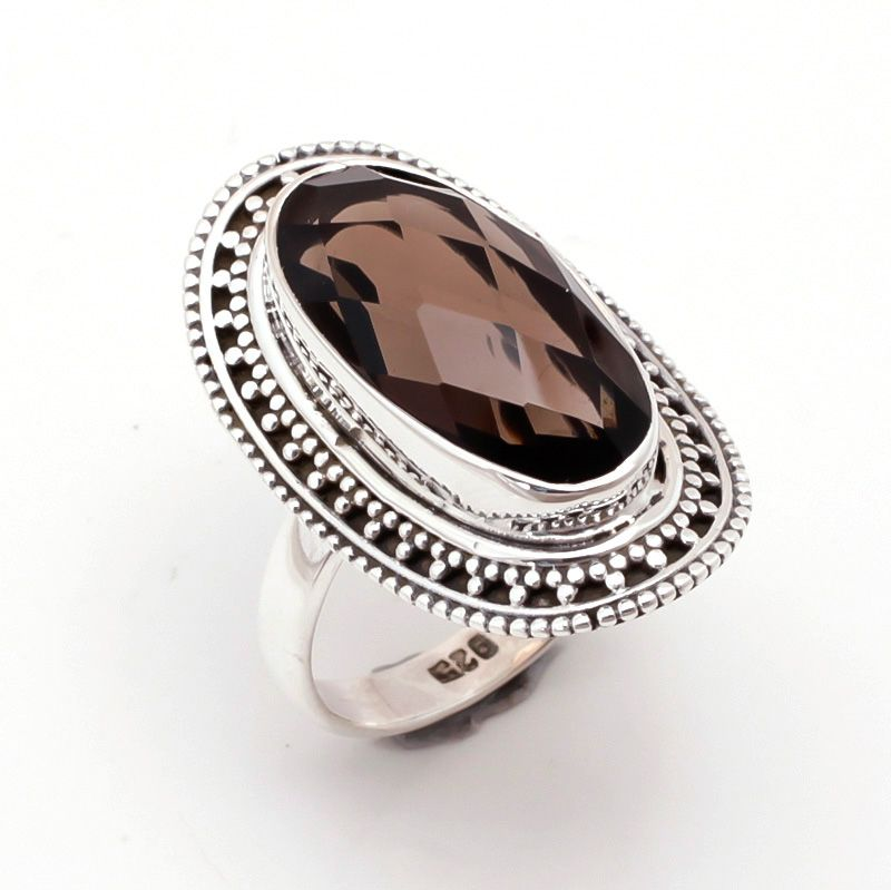 Smoky Gemstone 925 Sterling Silver Ring Size 8