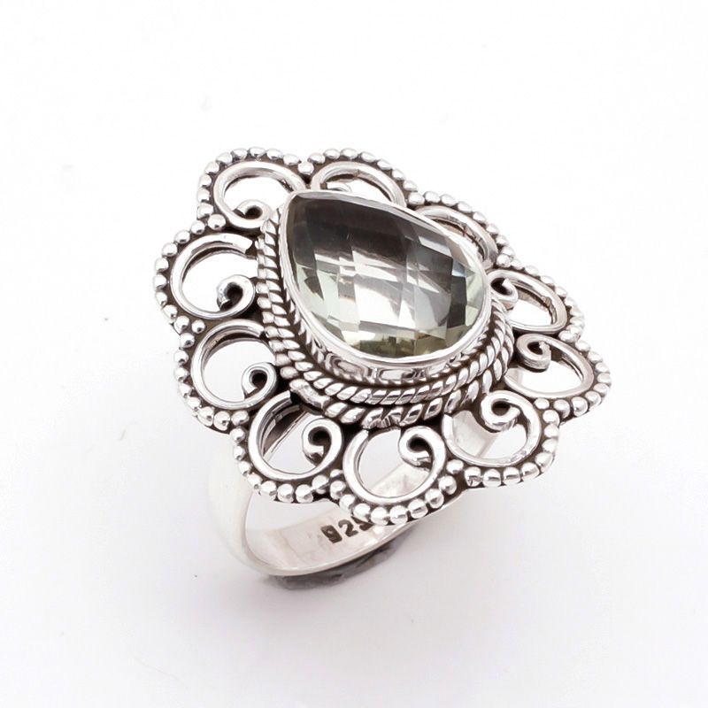 Green Amethyst Gemstone 925 Sterling Silver Ring Size 7