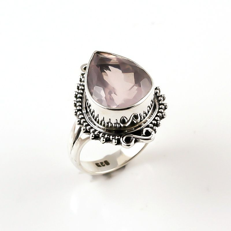 Rose Quartz Gemstone 925 Sterling Silver Ring Size 6.5