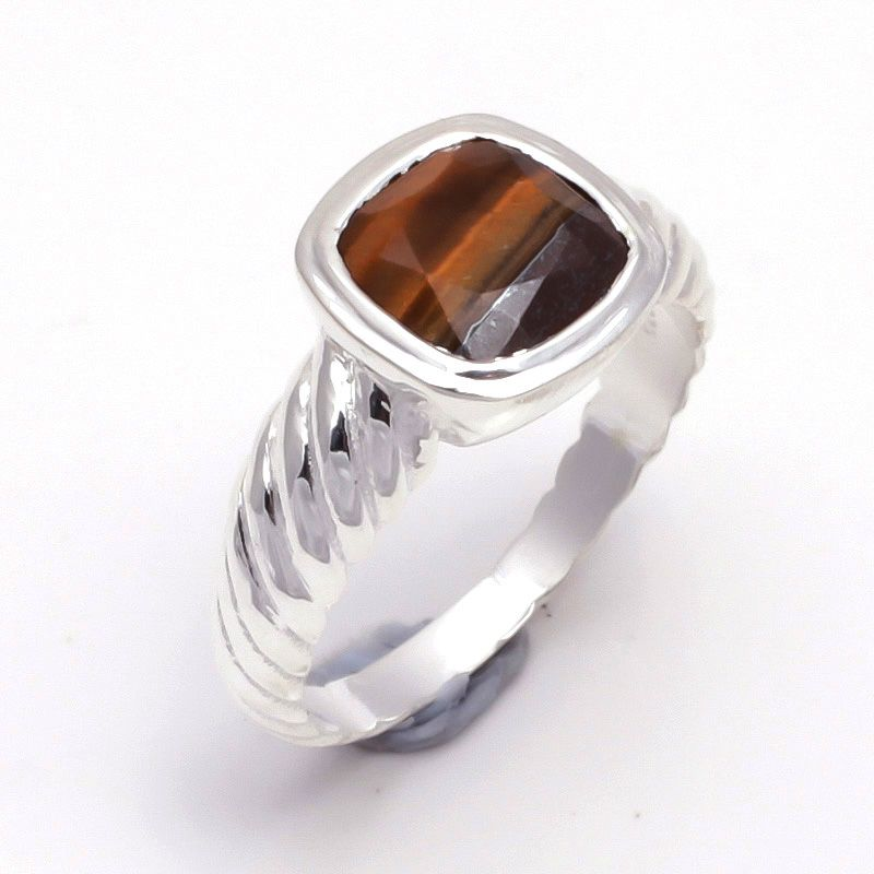 Tiger Eye Gemstone 925 Sterling Silver Ring Size 7