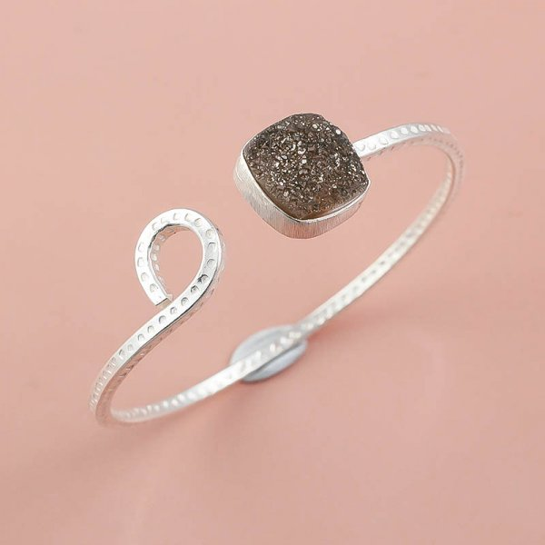 Titanium Druzy Gemstone 925 Sterling Silver Bangle