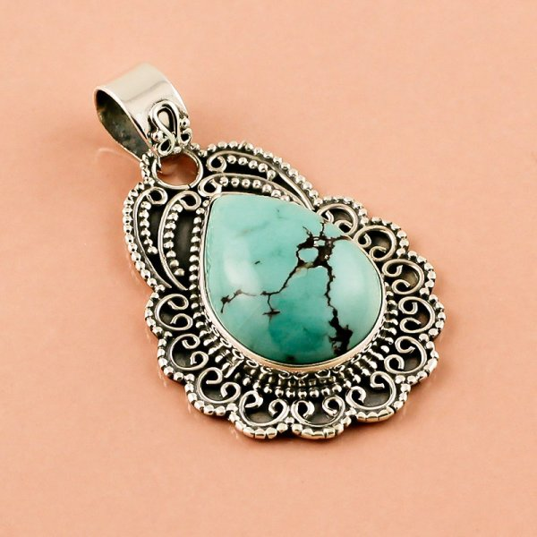 Turquoise Gemstone 925 Sterling Silver Pendant
