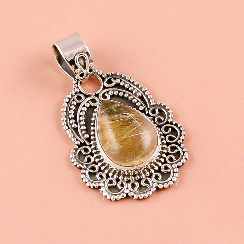 Golden Rutile Gemstone 925 Sterling Silver Pendant