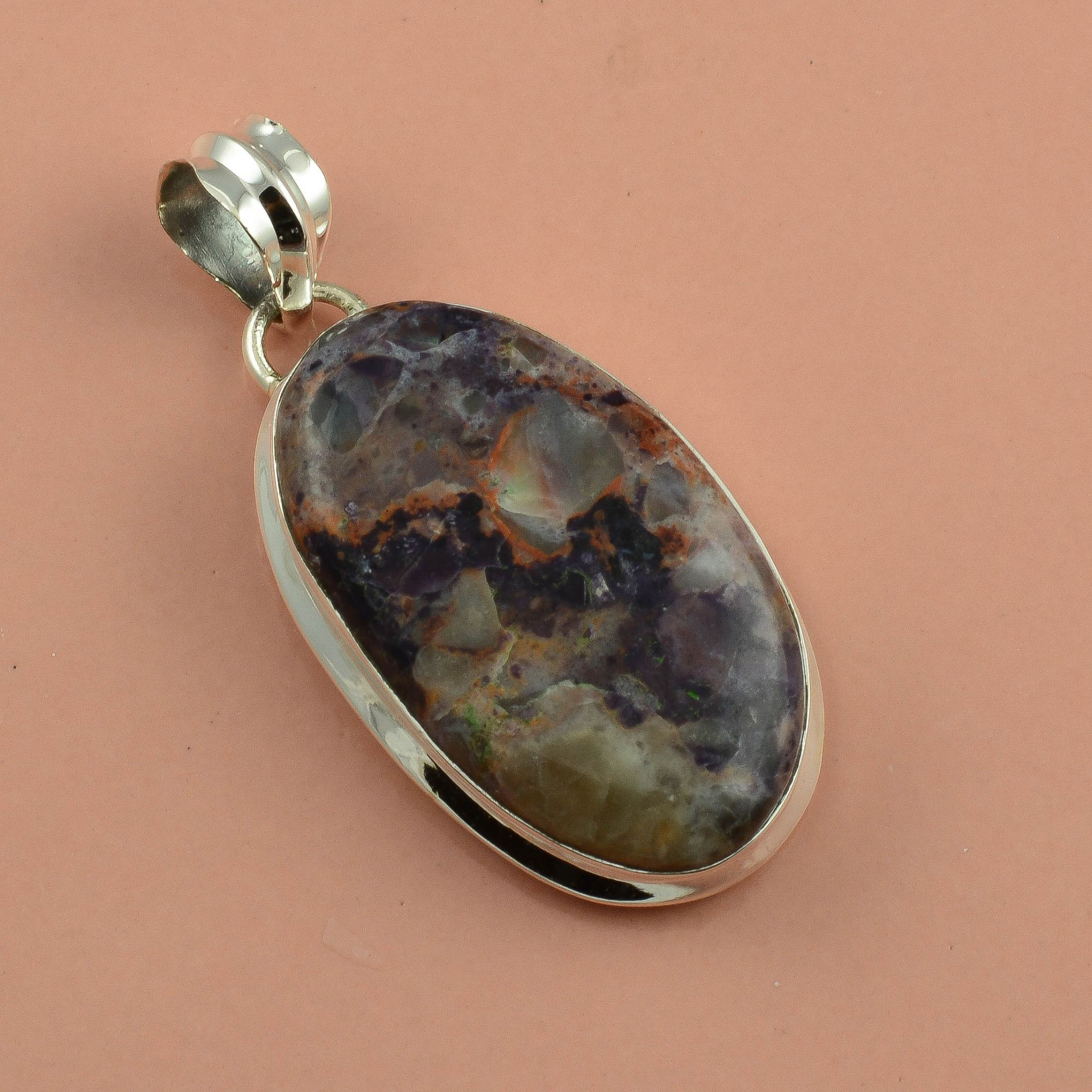 Agate Gemstone 925 Sterling Silver Pendant