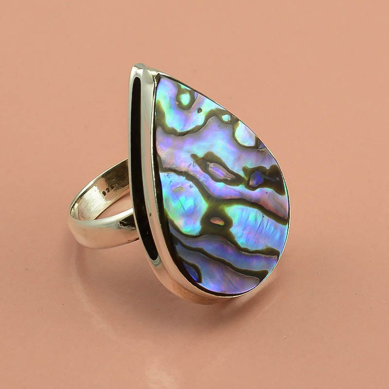 Australian Abalone Shell Gemstone 925 Sterling Silver Ring Size 9