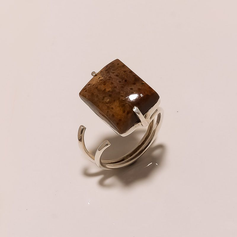 Palm Wood Jasper Gemstone 925 Sterling Silver Ring Size 7