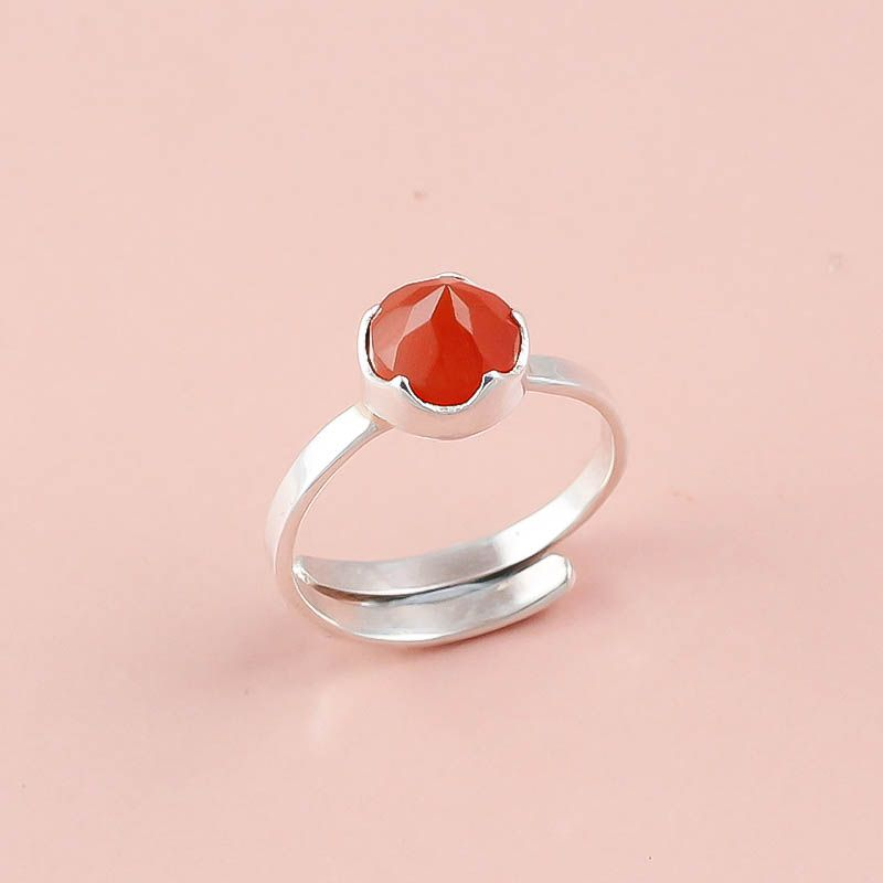 Carnelian Gemstone 925 Sterling Silver Ring Size 8 Adjustable