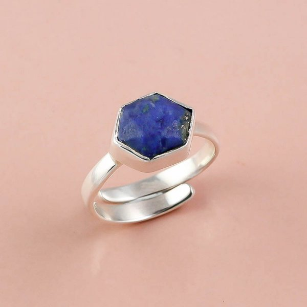 Lapis Gemstone 925 Sterling Silver Ring Size 6.5 Adjustable