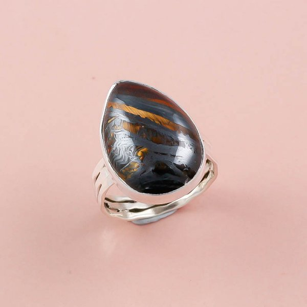 Iron Tiger Gemstone 925 Sterling Silver Ring Size 8