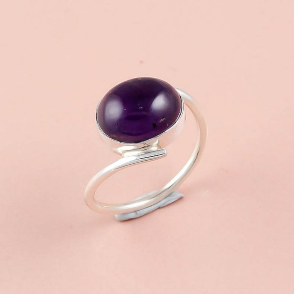 Amethyst Gemstone 925 Sterling Silver Ring Size 7.5