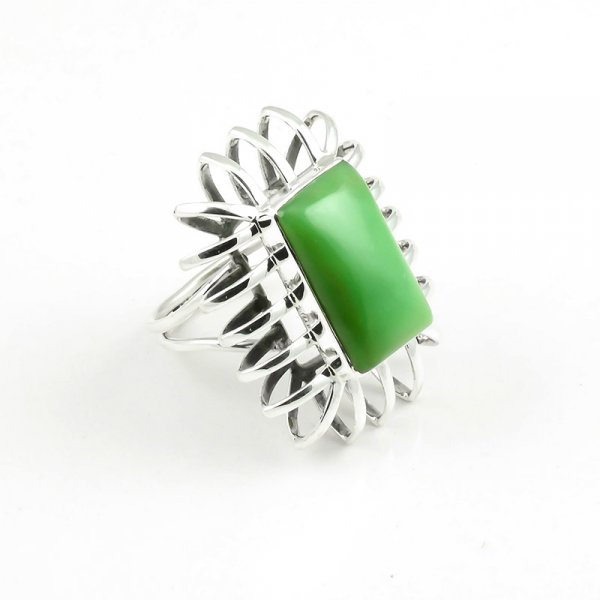 Green Onyx Gemstone 925 Sterling Silver Ring Size 7.5