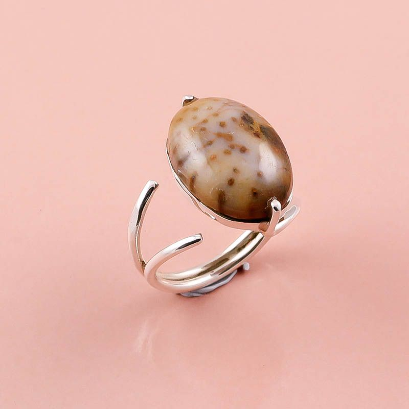 Jasper Gemstone 925 Sterling Silver Ring Size 6.5