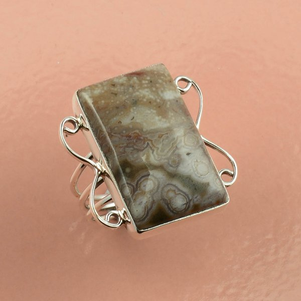 Ocean Jasper Gemstone 925 Sterling Silver Ring Size 7
