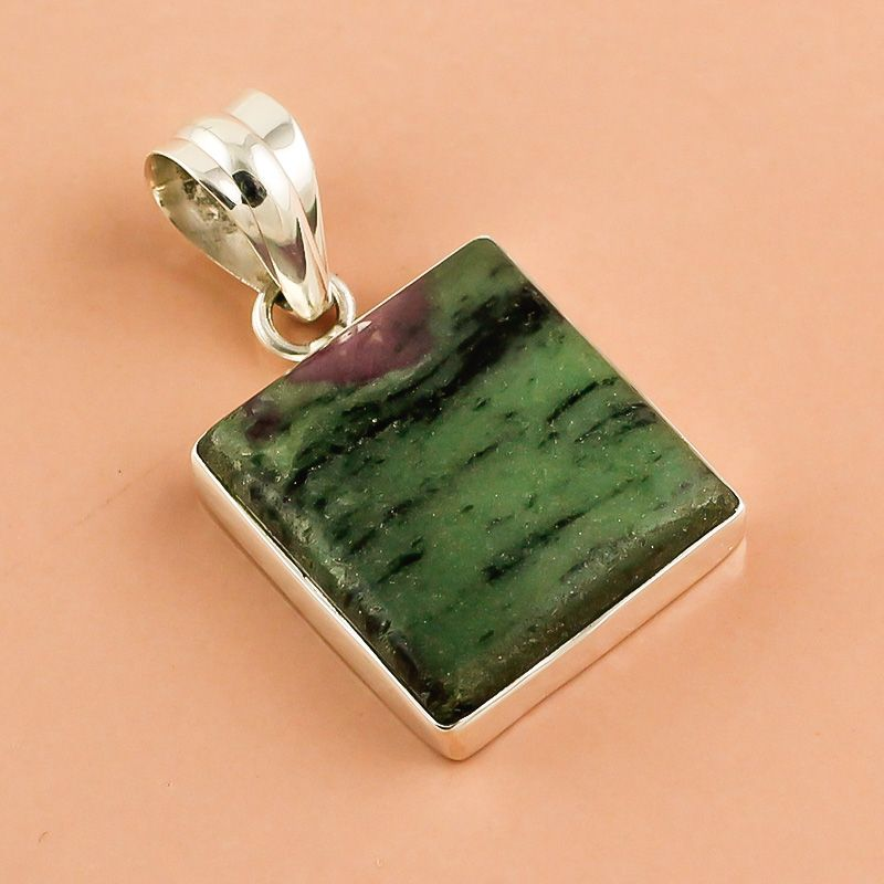 Ruby Zoisite Gemstone 925 Sterling Silver Pendant
